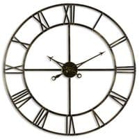 Large Antique Brass Industrial Style Metal Skeleton Wall Clock (H20434) 100cm